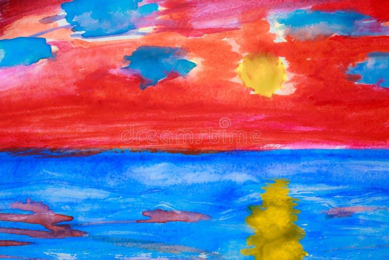 Het overzees van Watercolour royalty-vrije stock foto