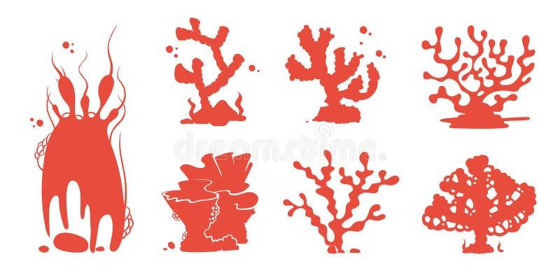 Het overzeese aquariumkoraal silhouetteert vectorreeks royalty-vrije illustratie