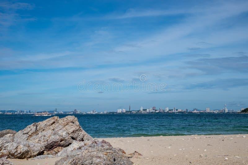 Het overzeese scape strand van Pattaya, Thailand royalty-vrije stock foto