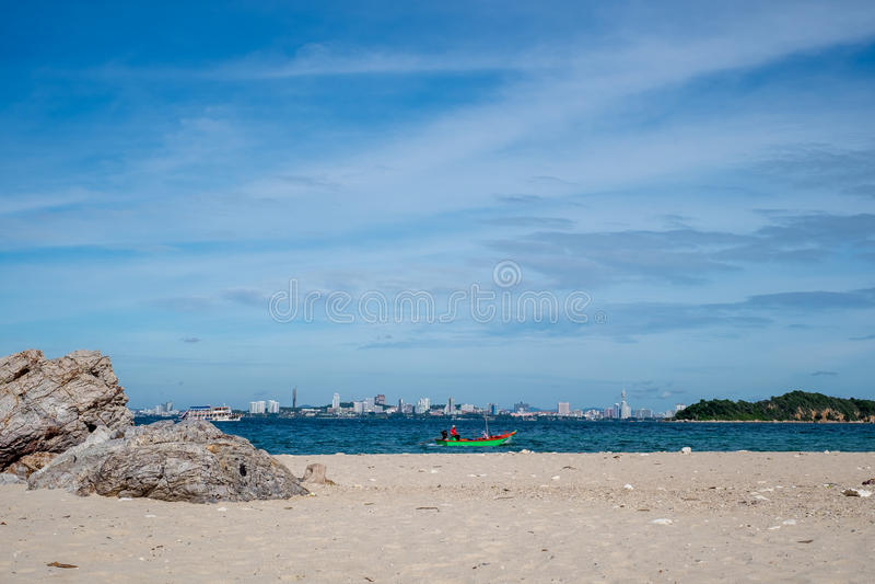Het overzeese scape strand van Pattaya, Thailand stock fotografie