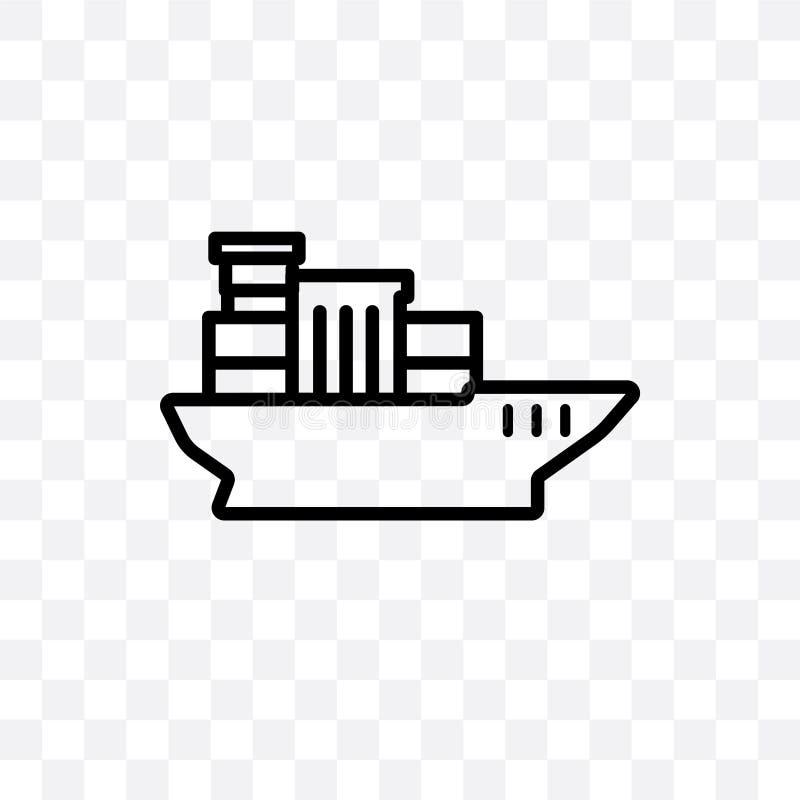 Het overzeese schip met containers vector lineair die pictogram op transparante achtergrond, Overzees schip met het concept van d vector illustratie