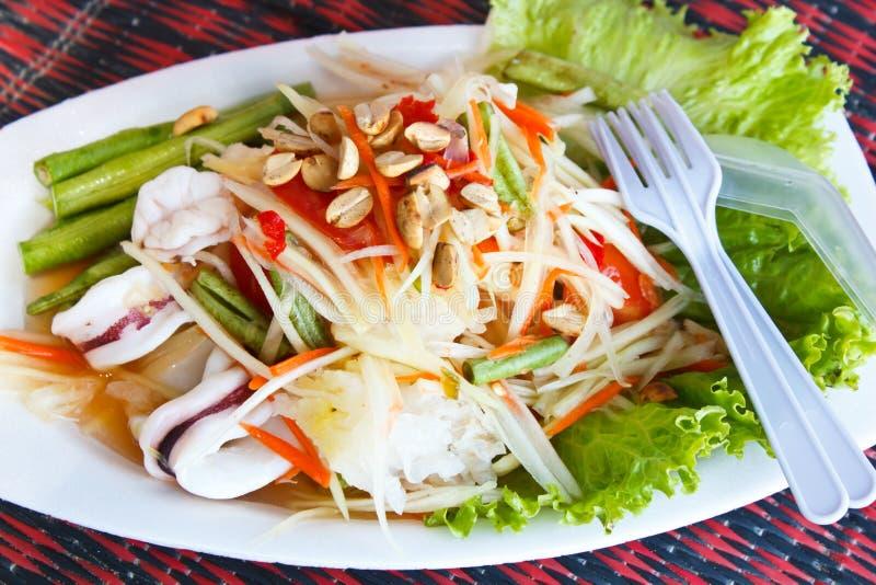 Het overzeese voedsel van de papajasalade, Thais voedsel. stock afbeeldingen