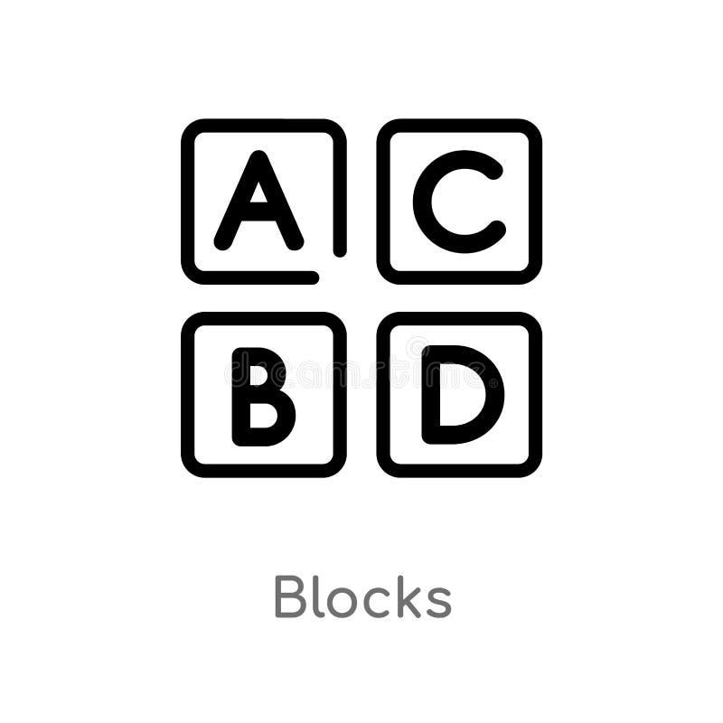het overzicht blokkeert vectorpictogram de geïsoleerde zwarte eenvoudige illustratie van het lijnelement van jonge geitjes en bab vector illustratie