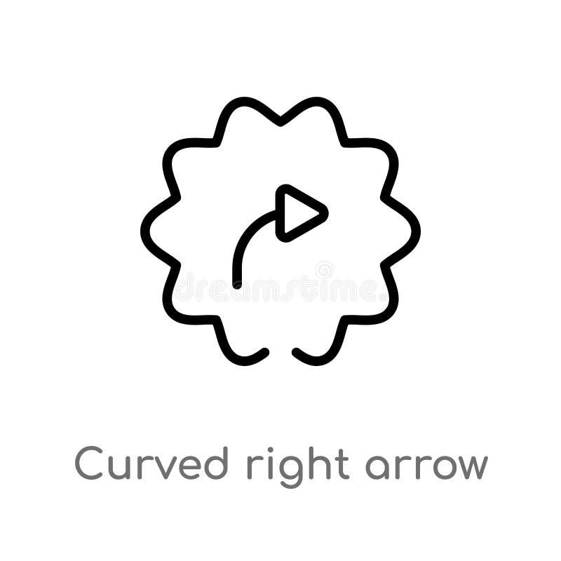 het overzicht boog juiste pijl vectorpictogram r editable stock illustratie