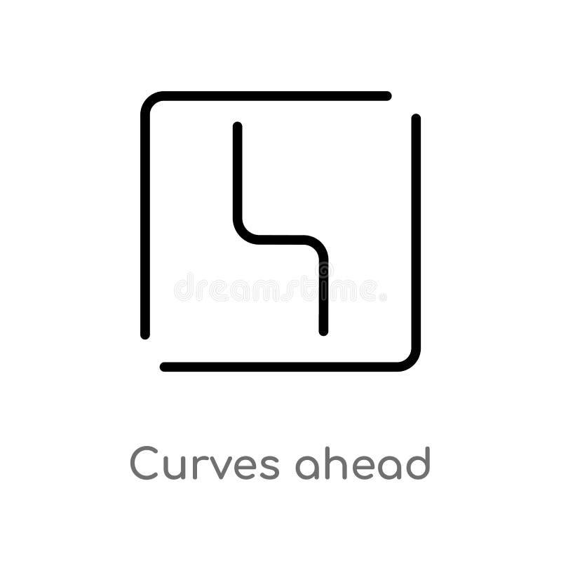 het overzicht buigt vooruit vectorpictogram de ge?soleerde zwarte eenvoudige illustratie van het lijnelement van kaarten en vlagg royalty-vrije illustratie
