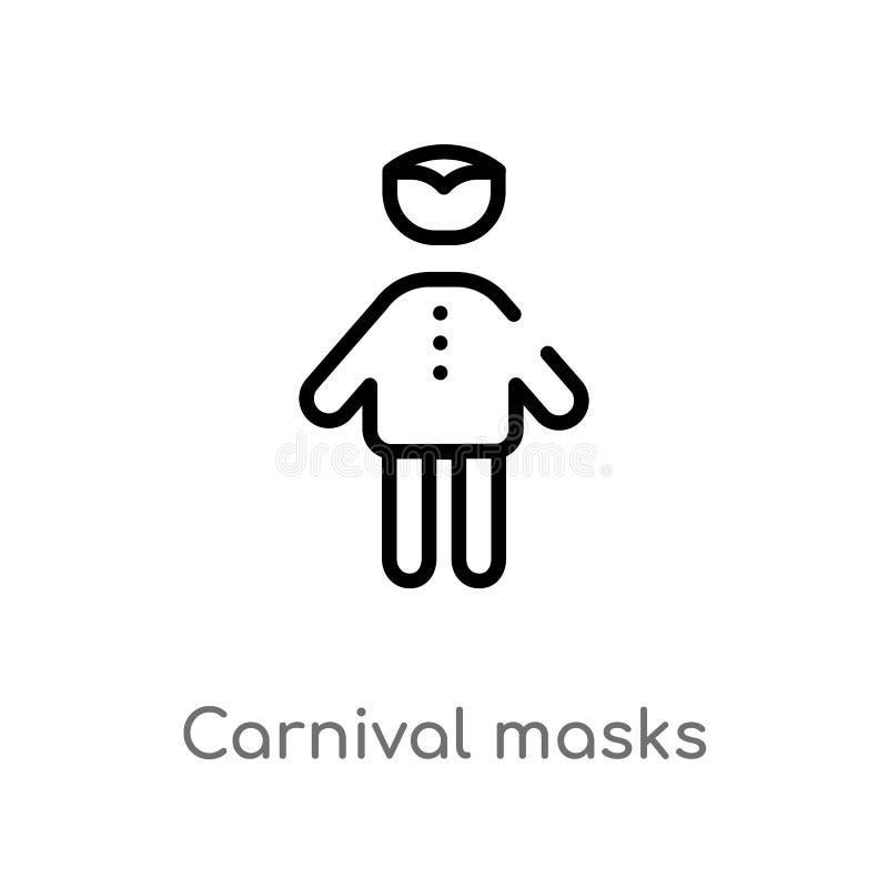 het overzicht Carnaval maskeert vectorpictogram de geïsoleerde zwarte eenvoudige illustratie van het lijnelement van mensenconcep stock illustratie