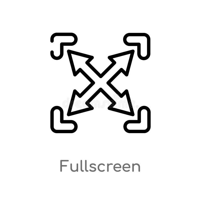 het overzicht fullscreen vectorpictogram de ge?soleerde zwarte eenvoudige illustratie van het lijnelement van interfaceconcept Ed stock illustratie