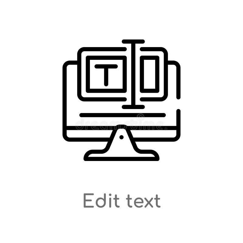 het overzicht geeft tekst vectorpictogram uit de ge?soleerde zwarte eenvoudige illustratie van het lijnelement van Web het ontvan stock illustratie