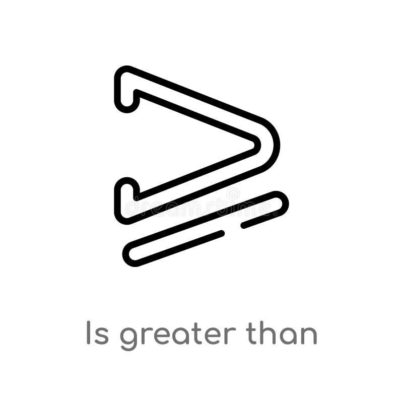 het overzicht is groter dan of gelijk aan vectorpictogram de ge?soleerde zwarte eenvoudige illustratie van het lijnelement van te stock illustratie