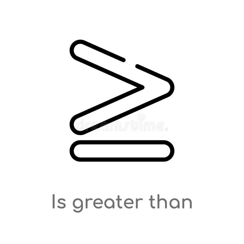 het overzicht is groter dan vectorpictogram de ge?soleerde zwarte eenvoudige illustratie van het lijnelement van tekensconcept de vector illustratie