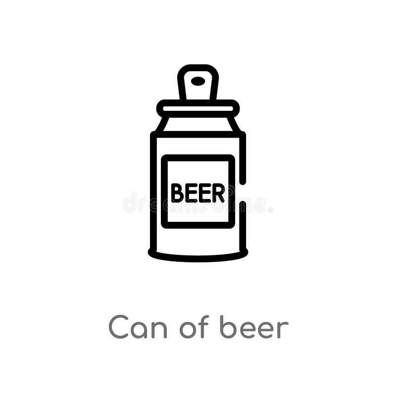 het overzicht kan van bier vectorpictogram de ge?soleerde zwarte eenvoudige illustratie van het lijnelement van Amerikaans voetba stock illustratie
