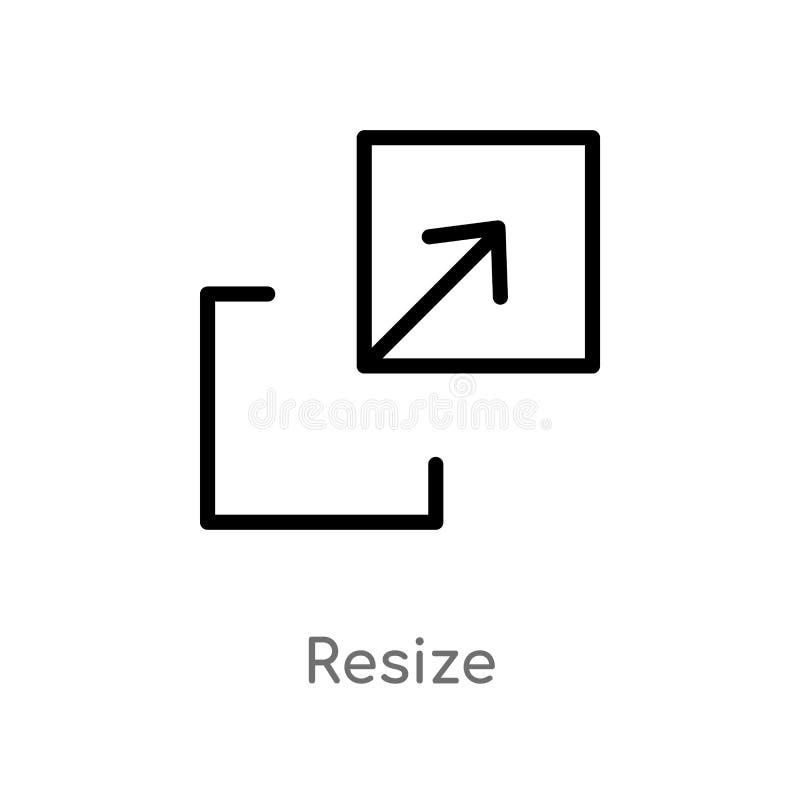 het overzicht resize vectorpictogram de geïsoleerde zwarte eenvoudige illustratie van het lijnelement van pijlenconcept de editab vector illustratie