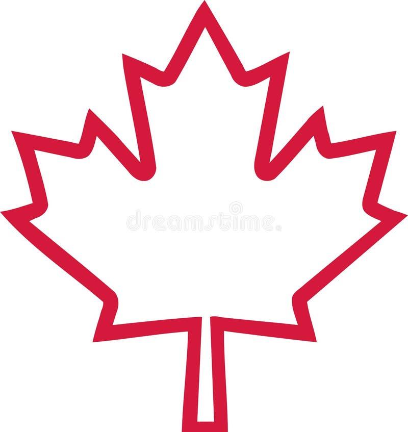 Het overzicht van het de esdoornblad van Canada vector illustratie