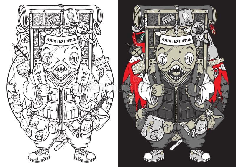 Het overzicht van de samoeraienjapan van piranhavissen backpacker en kleurende illustratie vector illustratie