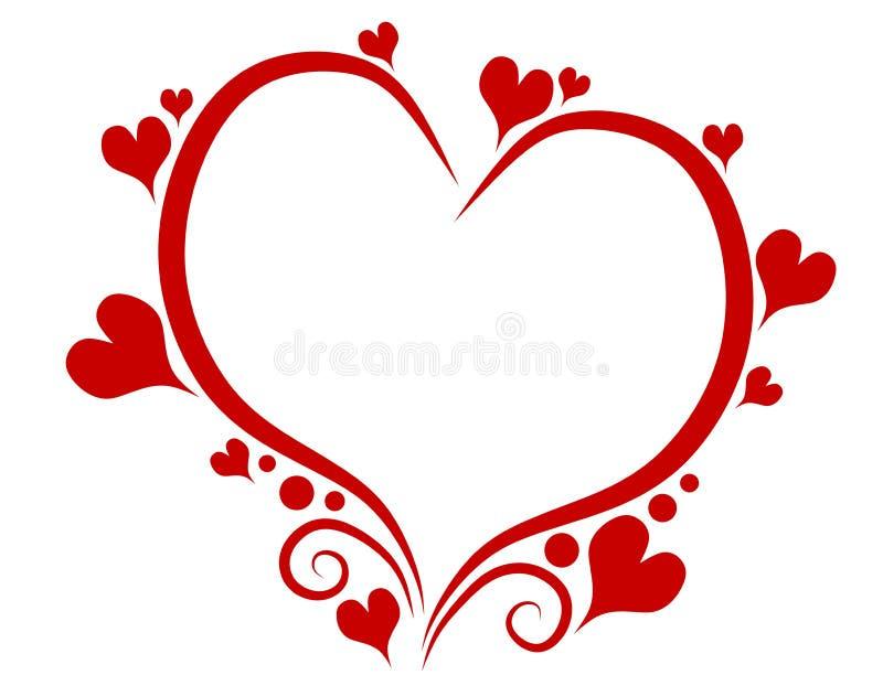 Het Overzicht van het Hart van de Dag van de decoratieve Rode Valentijnskaart royalty-vrije illustratie