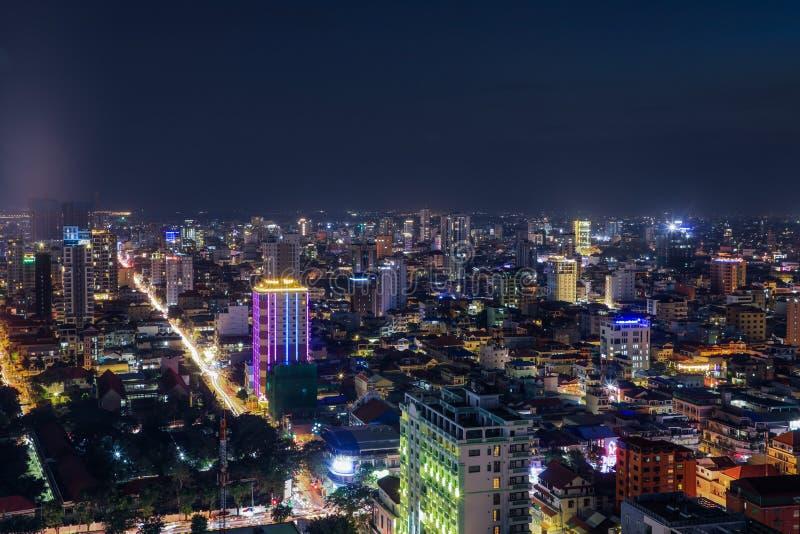 Het Overzicht van Phnompenh bij Nacht royalty-vrije stock afbeeldingen