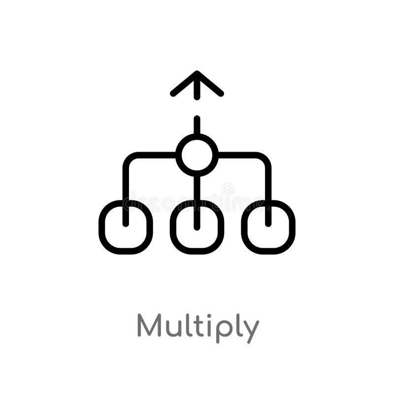 het overzicht vermenigvuldigt vectorpictogram de ge?soleerde zwarte eenvoudige illustratie van het lijnelement van pijlen 2 conce royalty-vrije illustratie