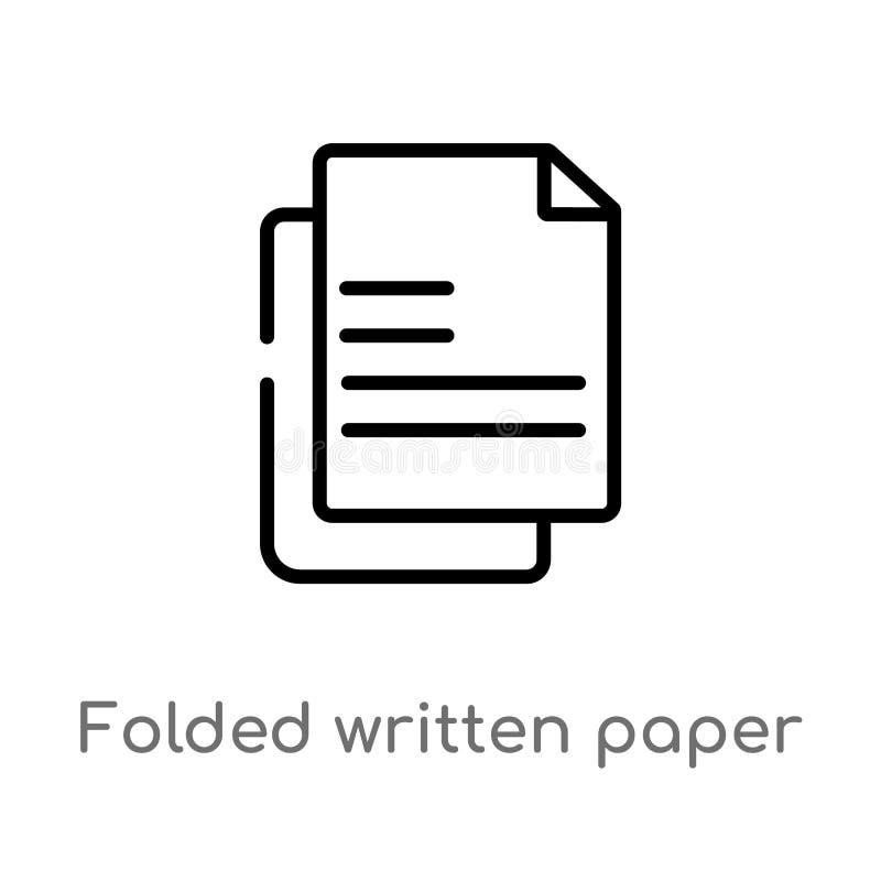 het overzicht vouwde geschreven document vectorpictogram r Editablevector vector illustratie