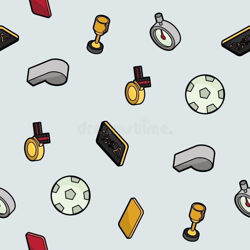 Het overzichts isometrisch patroon van de voetbalkleur stock illustratie