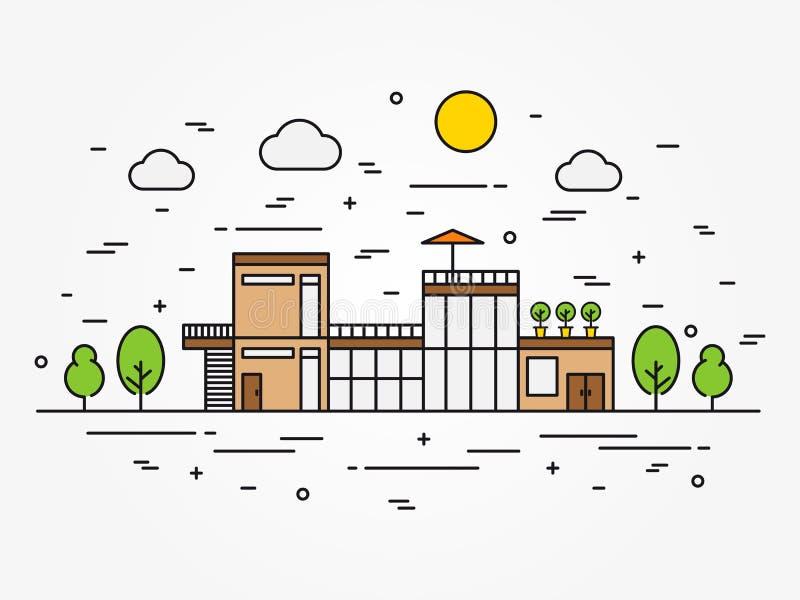 Het overzichts vectorillustratie van de huisarchitectuur royalty-vrije illustratie