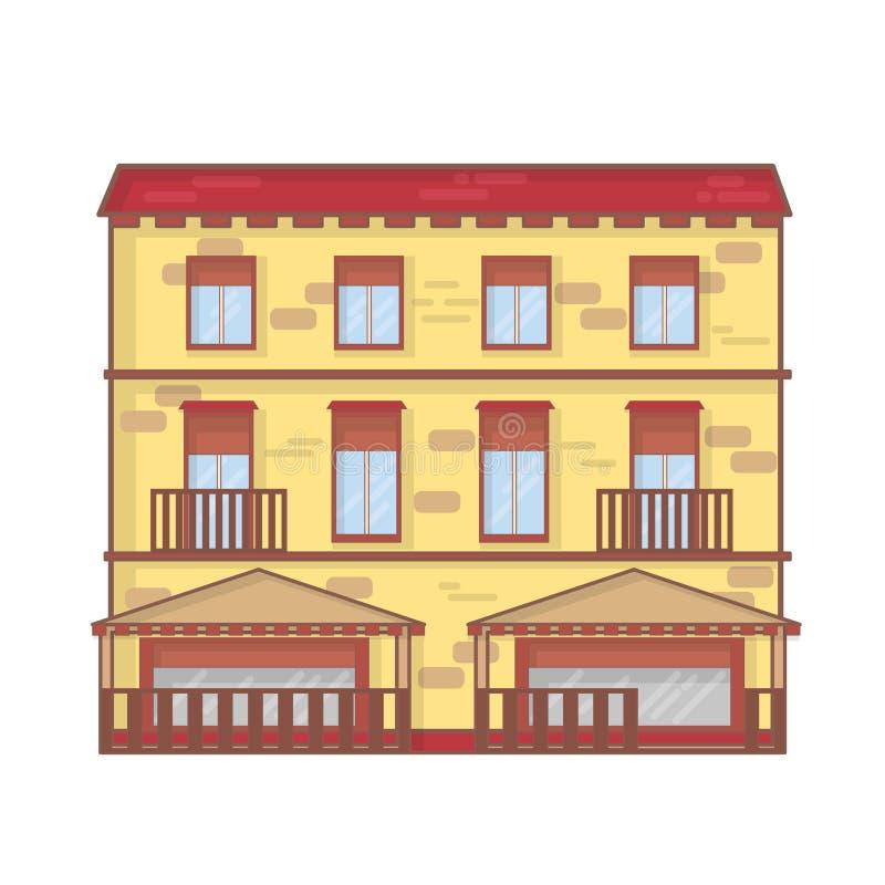 Het overzichts vectorillustratie van de huisarchitectuur de kunstconcept van de architectuurlijn vector illustratie