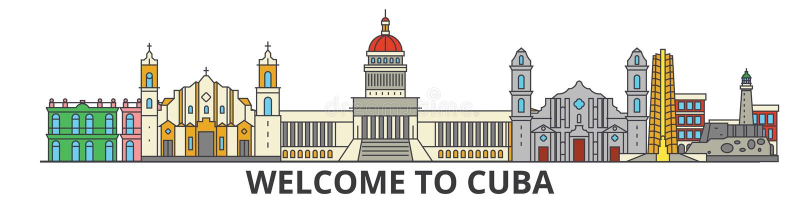 Het overzichtshorizon van Cuba, Cubaanse vlakke dunne lijnpictogrammen, oriëntatiepunten, illustraties Cityscape van Cuba, de Cub royalty-vrije illustratie