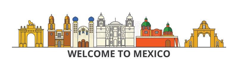Het overzichtshorizon van Mexico, Mexicaanse vlakke dunne lijnpictogrammen, oriëntatiepunten, illustraties Cityscape van Mexico,  royalty-vrije illustratie