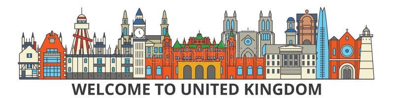 Het overzichtshorizon van het Verenigd Koninkrijk, Britse vlakke dunne lijnpictogrammen, oriëntatiepunten, illustraties Cityscape stock illustratie