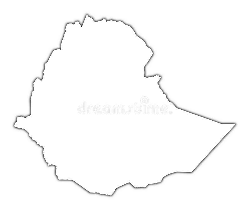 Het overzichtskaart van Ethiopië royalty-vrije illustratie