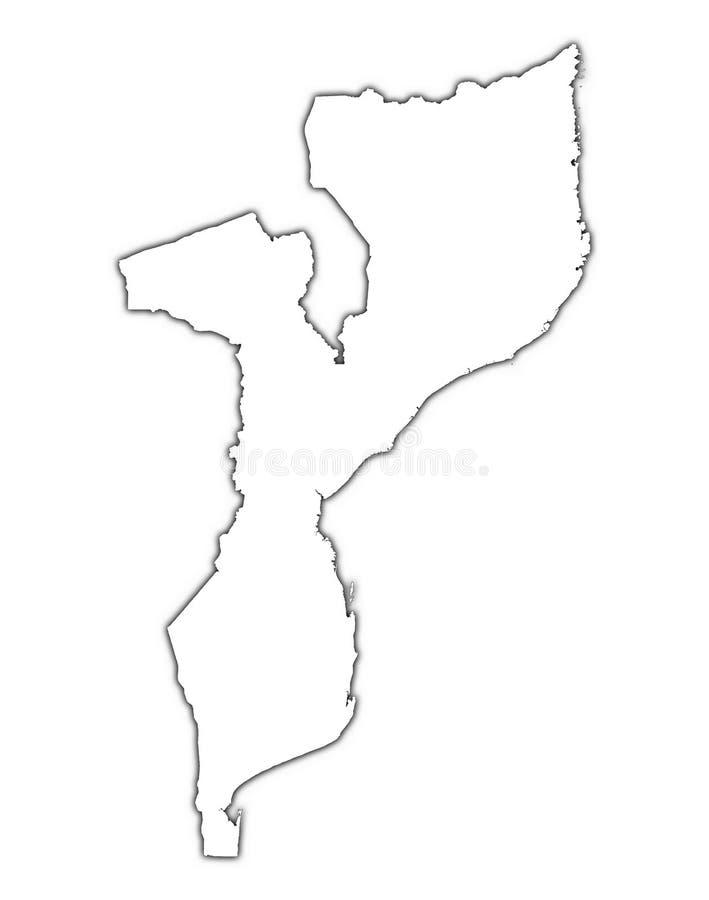 Het overzichtskaart van Mozambique stock illustratie