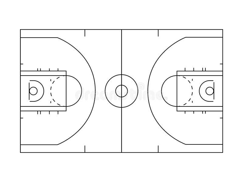 Het overzichtslijnen van het basketbalhof in zwart-wit royalty-vrije illustratie