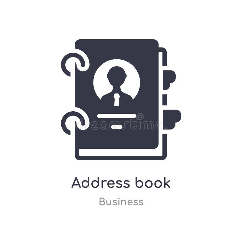 Het overzichtspictogram van het adresboek ge?soleerde lijn vectorillustratie van bedrijfsinzameling editable dun het boekpictogra stock illustratie