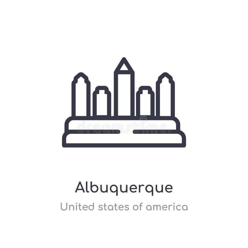het overzichtspictogram van Albuquerque ge?soleerde lijn vectorillustratie van de inzameling van de Verenigde Staten van Amerika  vector illustratie