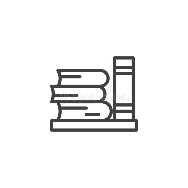 Het overzichtspictogram van bibliotheekboeken stock illustratie