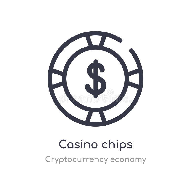 het overzichtspictogram van casinospaanders ge?soleerde lijn vectorillustratie van de inzameling van de cryptocurrencyeconomie ed stock illustratie