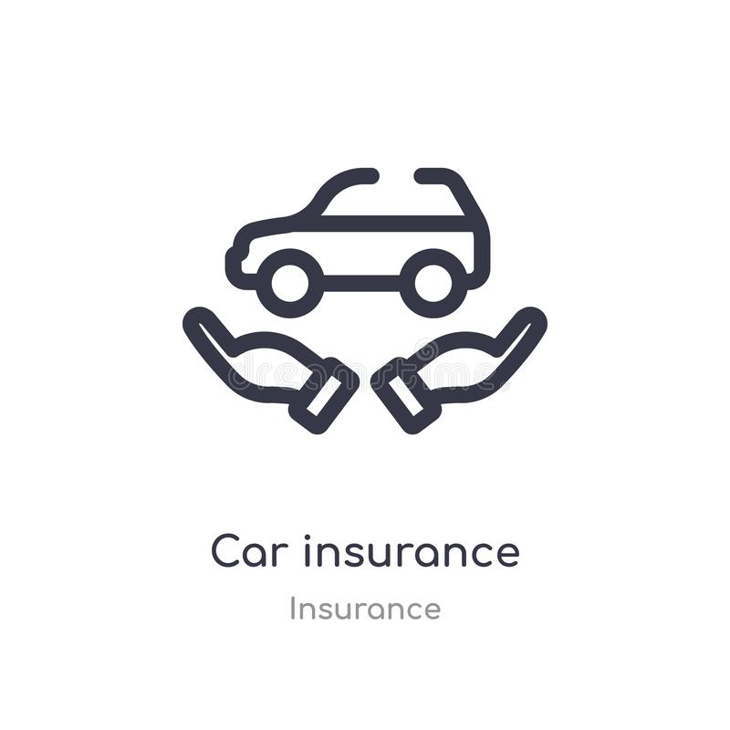 het overzichtspictogram van de autoverzekering ge?soleerde lijn vectorillustratie van verzekeringsinzameling editable dun de verz stock illustratie