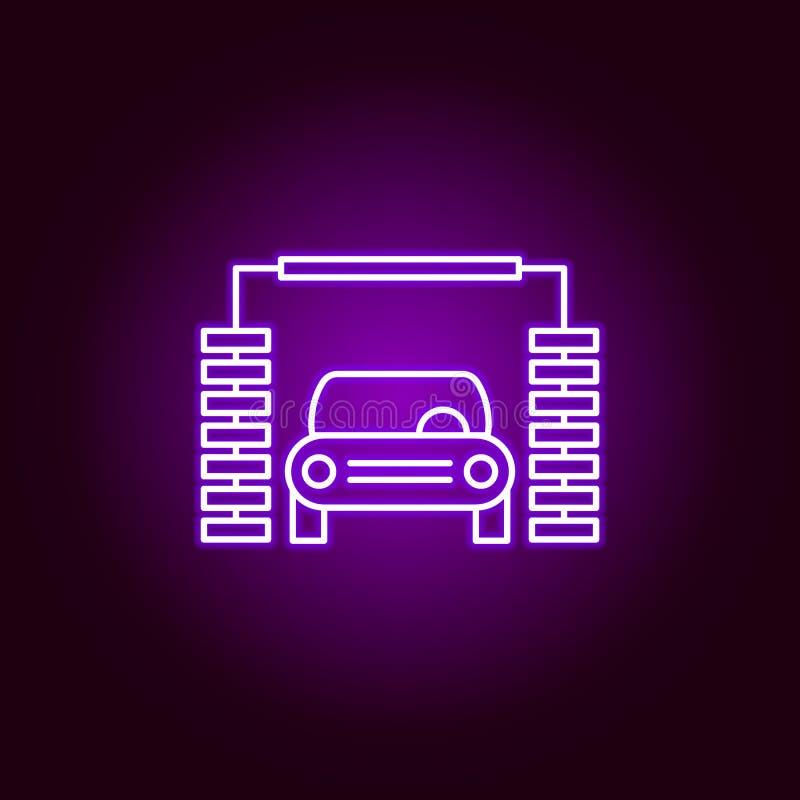 het overzichtspictogram van de autowasserettemachine in neonstijl Elementen van de illustratie van de autoreparatie in het pictog vector illustratie
