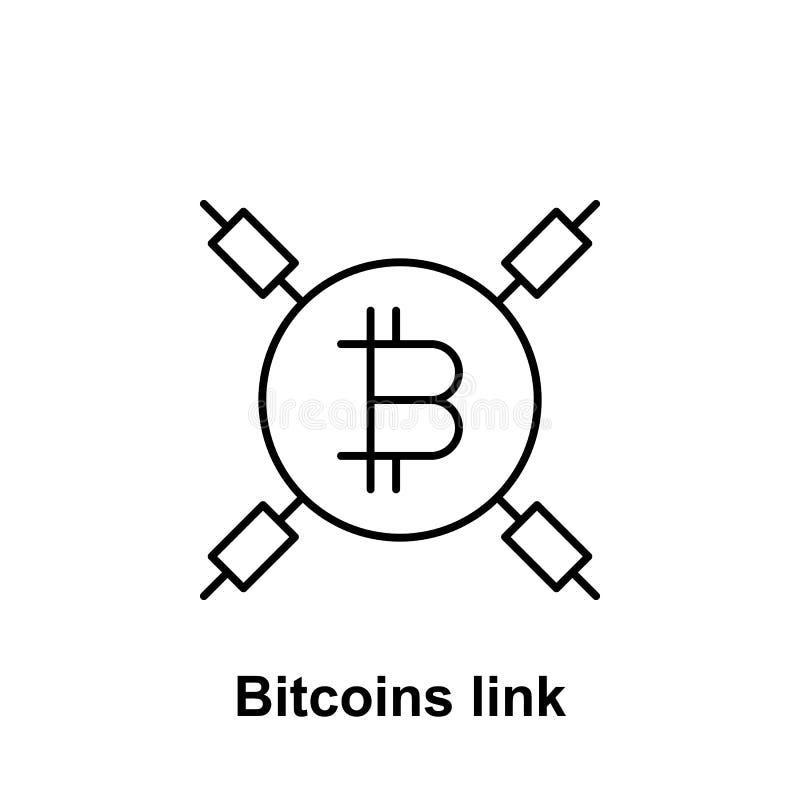 Het overzichtspictogram van de Bitcoinverbinding Element van de pictogrammen van de bitcoinillustratie De tekens en de symbolen k royalty-vrije illustratie