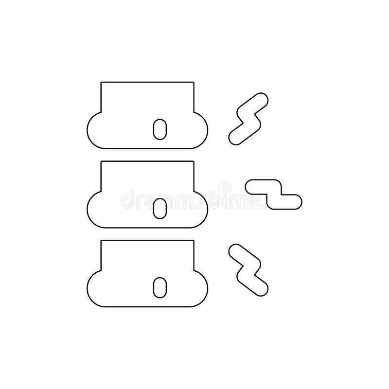 Het overzichtspictogram van de chiropraktijkstekel De tekens en de symbolen kunnen voor Web, embleem, mobiele toepassing, UI, UX  stock illustratie