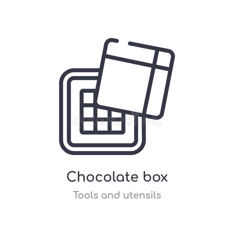het overzichtspictogram van de chocoladedoos ge?soleerde lijn vectorillustratie van hulpmiddelen en werktuigeninzameling editable stock illustratie
