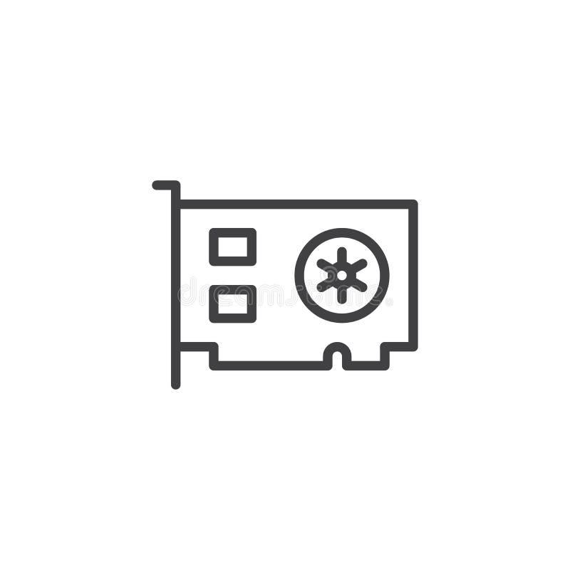 Het overzichtspictogram van de computer videokaart stock illustratie