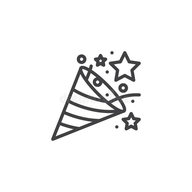 Het overzichtspictogram van de confettienpopcornpan vector illustratie