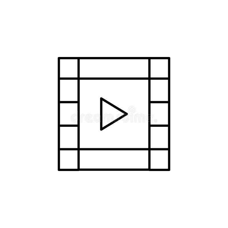 Het overzichtspictogram van de film videostrook De tekens en de symbolen kunnen voor Web, embleem, mobiele toepassing, UI, UX wor vector illustratie