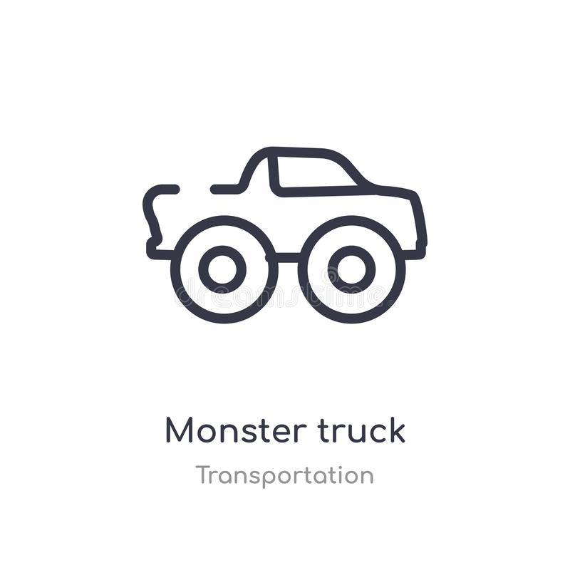 het overzichtspictogram van de monstervrachtwagen geïsoleerde lijn vectorillustratie van vervoersinzameling de editable dunne vra stock illustratie