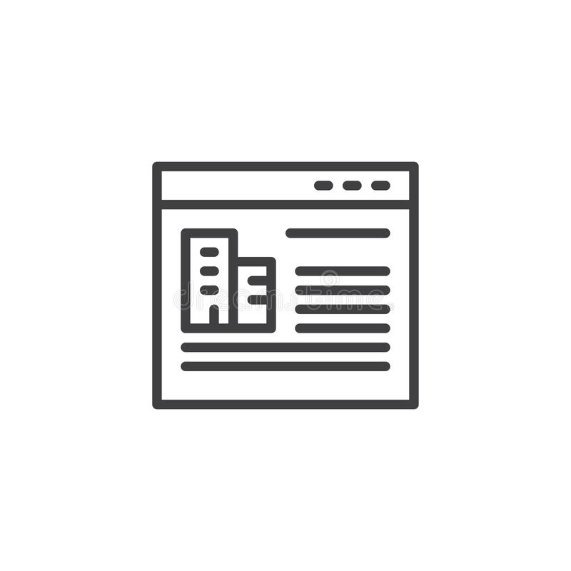 Het overzichtspictogram van de onroerende goederenonline opslag vector illustratie