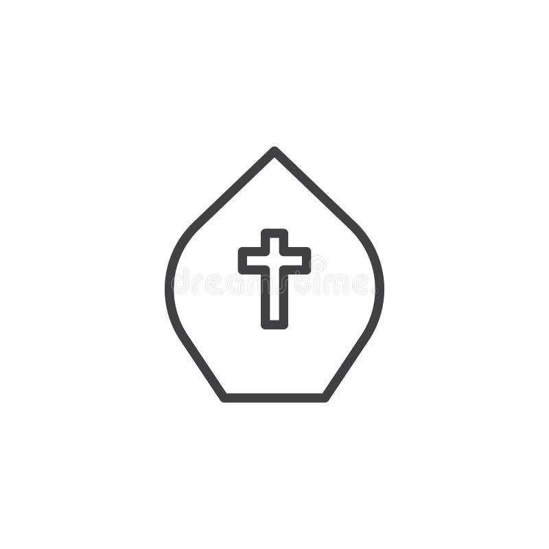 Het overzichtspictogram van de paushoed stock illustratie