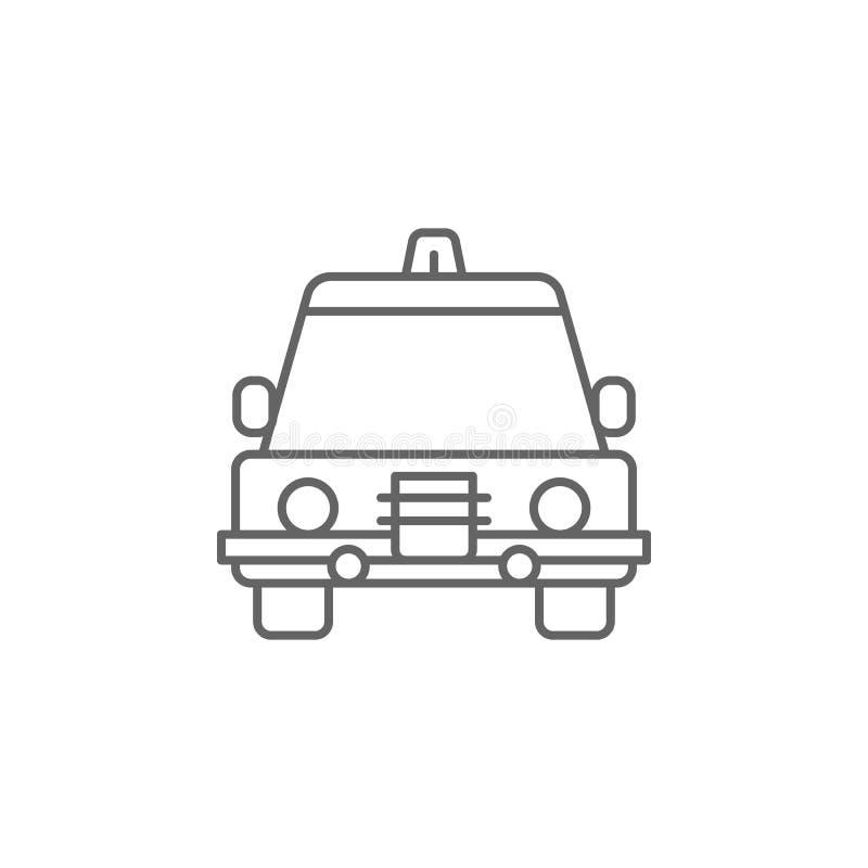 Het overzichtspictogram van de rechtvaardigheidspolitiewagen Elementen van de lijnpictogram van de Wetsillustratie De tekens, de  royalty-vrije illustratie