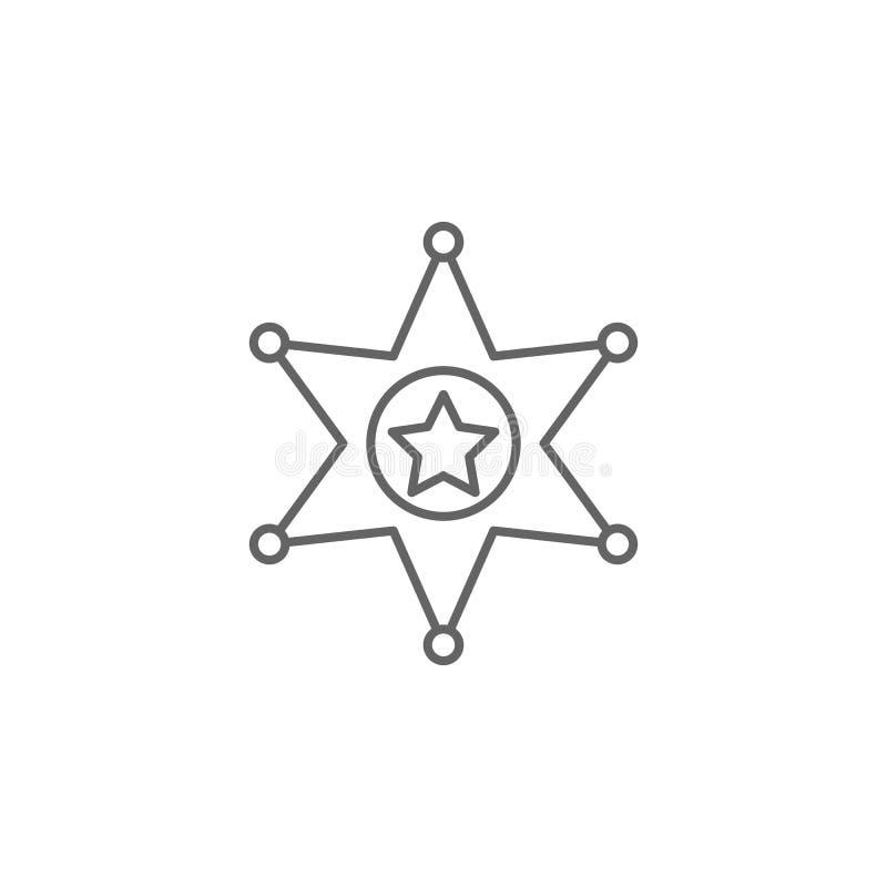 Het overzichtspictogram van de rechtvaardigheidssheriff Elementen van de lijnpictogram van de Wetsillustratie De tekens, de symbo stock illustratie