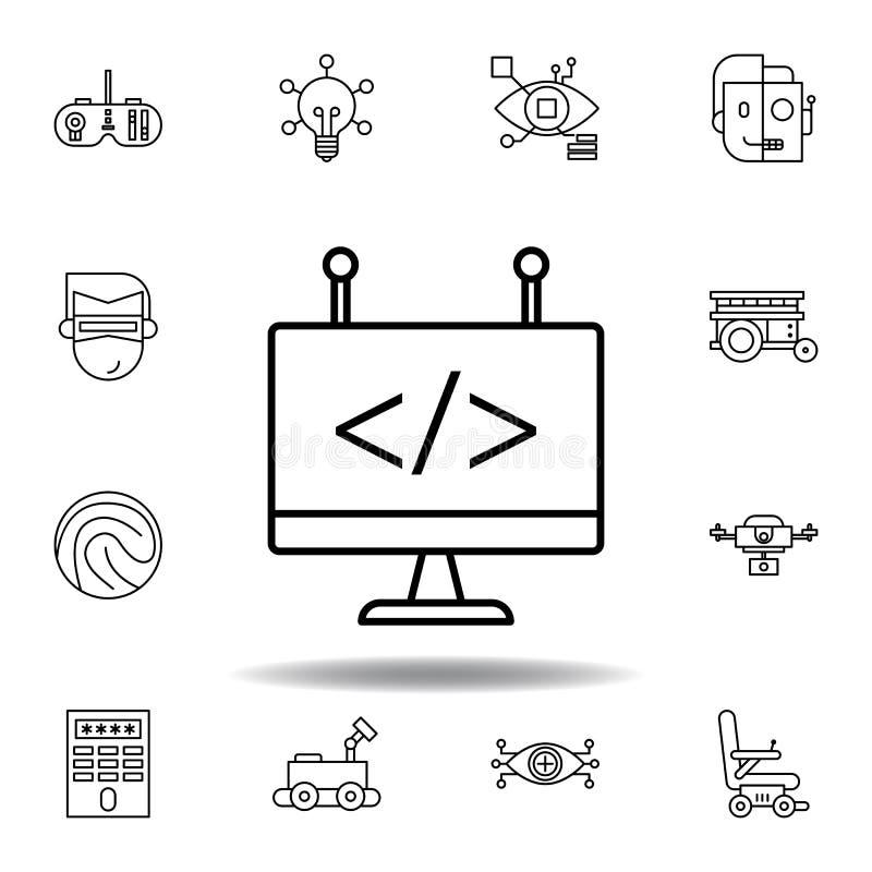 Het overzichtspictogram van de roboticacodage reeks pictogrammen van de roboticaillustratie de tekens, symbolen kunnen voor Web,  royalty-vrije illustratie