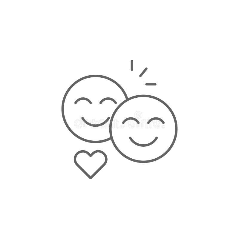 het overzichtspictogram van de smileyvriendschap Elementen van het pictogram van de vriendschapslijn De tekens, de symbolen en de royalty-vrije illustratie